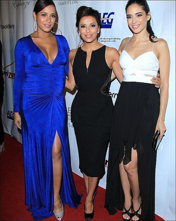 • 24 Septembre 2o13 •  - Los Angeles, Etats-Unis. ⭐ Eva est allée au « Gala de Padres Contra El Cancer » qui avait lieu au « Club Nokia ».  Tenue: Robe Pamella Roland & Escarpins Salvatore Ferragamo.