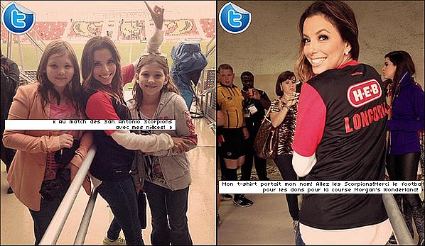 • 13 Octobre 2o13 •  - San Antonio, Etats-Unis. ⚽ Eva est allée voir un « Match de Football » des San Antonio Scorpions.