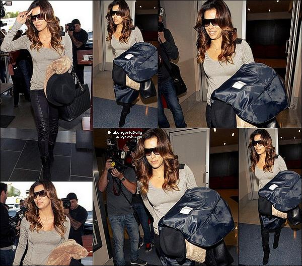 • o3 Décembre 2o13 •  - Los Angeles, Etats-Unis. ✈️ EEnfin, Eva a été vue à « LAX Airport ».  Tenue: Lunettes Gucci à 225¤, Pull Twenty à 9o¤, Sac Chanel à 169o¤ & Legging Black Orchid à 14o¤.