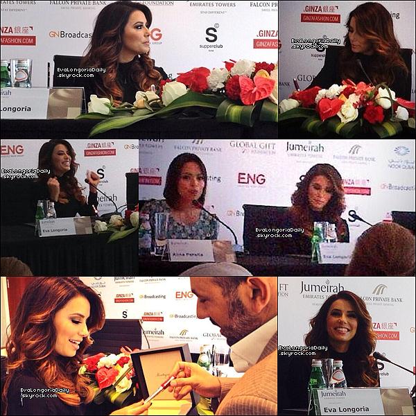 • 14 Décembre 2o13 •  - Dubaï, Emirats Arabes Unis. ⭐ Le soir, Eva est allée au « Global Gift Gala ».  Tenue: Robe Yanina.