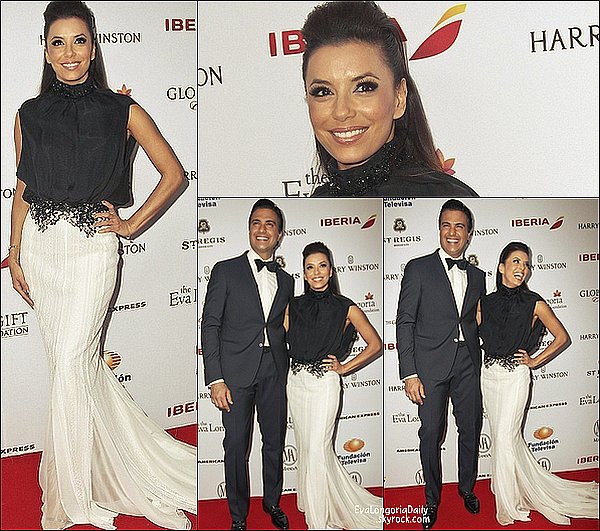 • 3o Janiver 2o14 •  - Mexico, Mexique. ⭐ Le soir, Eva est allée au « Global Gift Gala » avec Alina & Maria.  Tenue: Robe Zuhair Murad.