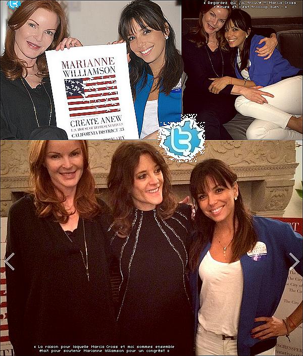 • o7 Avril 2o14 •  - Los Angeles, Etats-Unis. 🎤 Eva & Marcia Cross sont allées soutenir Marianne Williamson lors d'un « Congrès ».  Tenue: Ceinture Hermès à 84o¤.