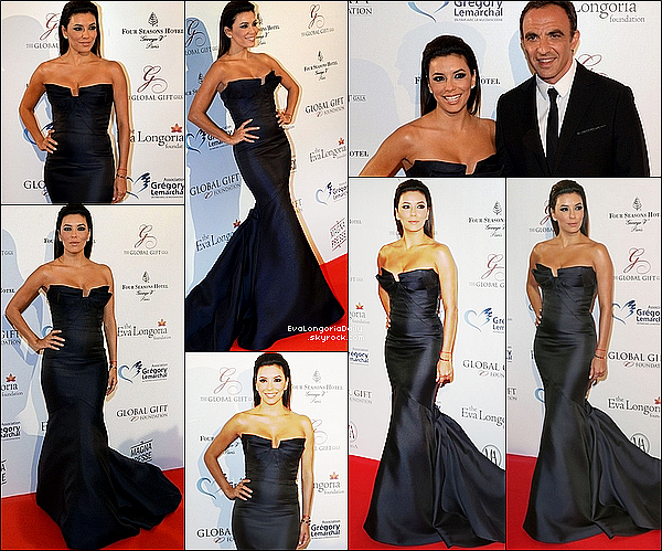 ✴ Eva était au  Global Gift Gala 2014 au Four Season Hotel George V. 12 Mai 2014, Paris, France. Tenue: Eva porte une Robe Monique Lhuillier & des Escarpins Brian Atwood.