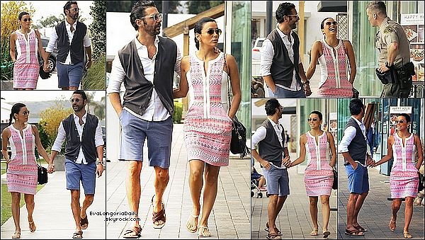 • 24 Mai 2o14 •  - Malibu, Etats-Unis. 🛍️ Puis, Eva & Pepe sont allés « Faire du Shopping ».  Tenue: Lunettes Ray-Ban à 15o¤, Robe Ella Moss à 17o¤ & Sandales Chanel.
