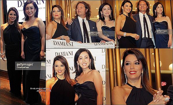 💎 Eva est allée à l'ouverture d'une nouvelle boutique de la marque Damiani.  30 Mai 2014, Shanghai - Chine. Tenue: Eva porte des Bijoux Damiani.