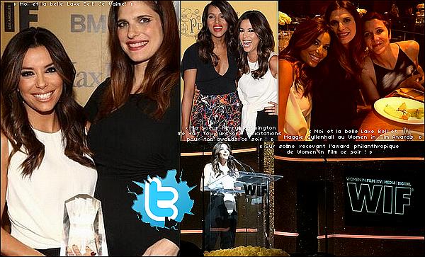 • 11 Juin 2o14 •  - West Hollywood, Etats-Unis. ⭐ Eva est allée aux « Women In Film 2014 Crystal + Lucy Awards » qui avaient lieu au « Hyatt Regency Century Plaza ».  Tenue: Combinaison Max Mara & Escarpins Christian Louboutin.
