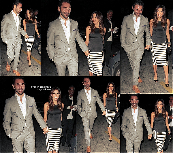 🍴 Eva est allée dîner au Aventine Restaurant avec Pepe Baston & son amie Alina Peralta.  12 Juin 2014, Hollywood, Etats-Unis. Tenue: Eva porte un Top Lovers&Friends à 110¤, une Jupe Zara & des Escarpins Christian Louboutin.