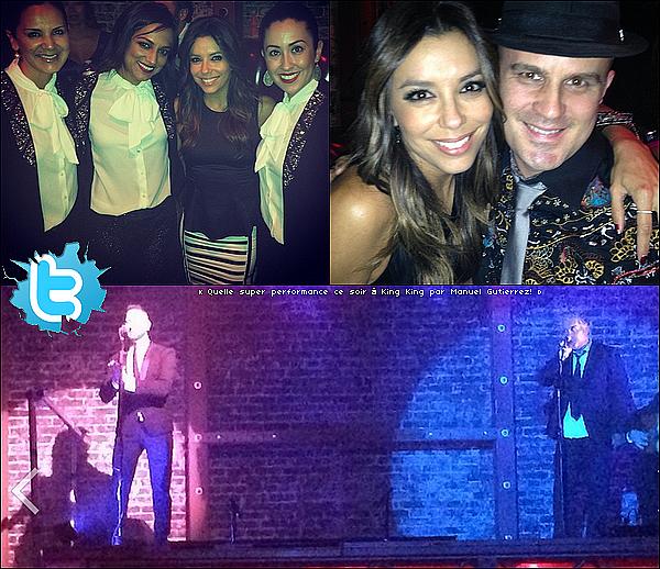 • 12 Juin 2o14 •  - Hollywood, Etats-Unis. 🍴 Ensuite, Eva, Pepe & leurs amis sont allés dîner au « Aventine Restaurant ».  Tenue: Top Lovers&Friends, Jupe Zara & Escarpins Christian Louboutin.