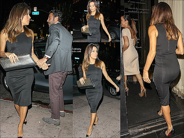 🍴 Eva est allée au Beso Restaurant avec Pepe Baston, ses s½urs Emily & Esmeralda ainsi que des amis.  13 Juin 2014, Hollywood, Etats-Unis. Tenue: Eva porte une Pochette Yves Saint-Laurent & des Escarpins Christian Louboutin à 595¤.