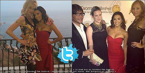 ✭ Eva s'est rendue au 60th Taormina Film Festival.  17 Juin 2014, Taormina, Italie. Tenue: Eva porte une Robe Pamella Roland.