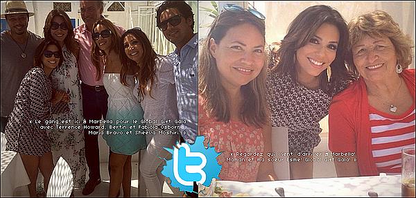 • 18 Juillet 2o14 •  - Marbella, Espagne. ⭐ Le soir, Eva & Pepe sont allés au « Ocean Club » pour une soirée.  Tenue: Ensemble Sportmax & Escarpins Christian Louboutin.