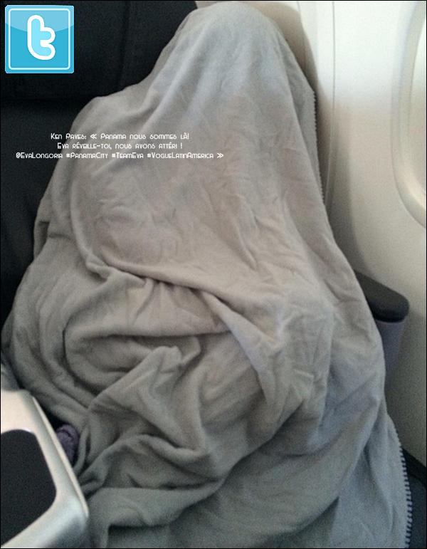 • 27 Août 2o14 •  - Los Angeles, Etats-Unis. 📷 Eva a posté une « Photo d'Elle » en Avion, direction le Panama.