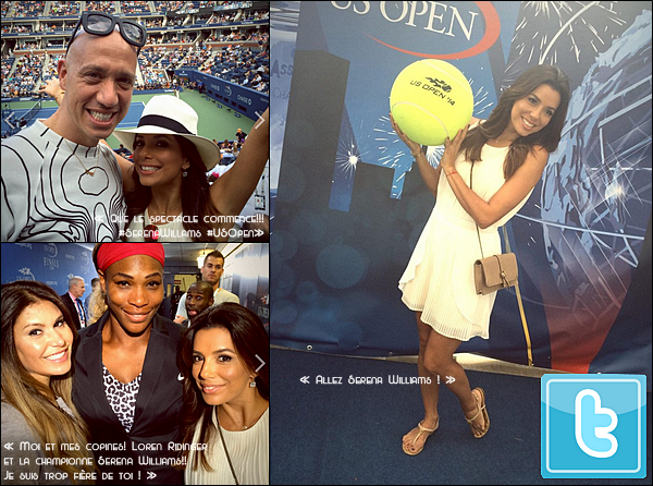 • o7 Septembre 2o14 •  - New-York, Etats-Unis. 🎾 Eva & Robert Verdi sont allés voir un « Match de Tennis » de Serena Williams lors de « L'US Open ».  Tenue: Lunettes Ray-Ban à 15o¤, Robe Lovers&Friends à 18o¤, Sac Chloé à 735o¤ & Sandales Chanel.