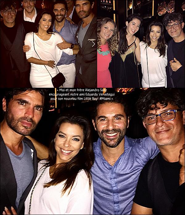 🎥 Eva & Jose Antonio sont allés sur le tournage du film d'Eduardo Verastegui « Little Boy ».  28 Septembre 2014, Miami - Etats-Unis. Tenue: Eva porte un Sac Chanel à 3270¤.