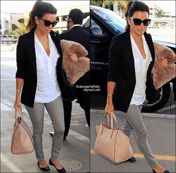 • 24 Octobre 2o14 •  - San Antonio, Etats-Unis. ✈️ Eva a été vue au « San Antonio International Airport ».  Tenue: Lunettes Christian Dior à 19o¤ & Sac Gérard Darel à 48o¤.