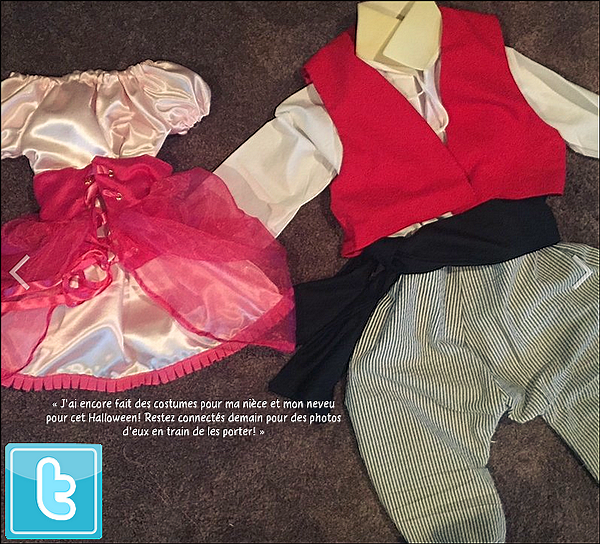 🎃 Eva a posté une photo des costumes d'Halloween qu'elle a fait pour ses nièces et neveux.   30 Octobre 2014, San Antonio - Etats-Unis.