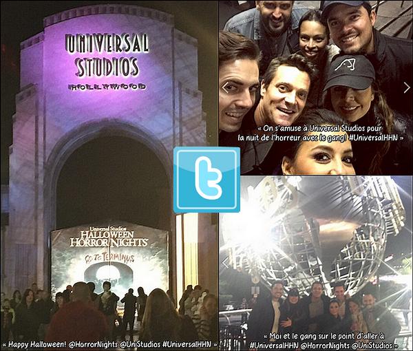 🎃 Le soir, Eva & ses amis Alina Peralta, Manuel Gutierrez, Bonnie Rodezno, Adam Boehmer & d'autres, sont allés à Universal Studios pour la nuit de l'horreur à l'occasion d'Halloween.   31 Octobre 2014, Universal City - Etats-Unis.