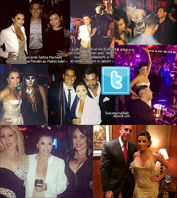 • o1 Novembre 2o14 •  - Las Vegas, Etats-Unis. ⭐ Le soir, Eva est allée au « 14th Annual Padres Contra El Cancer » qui avait lieu à « The Venetian Hotel Casino » .  Tenue: Robe Marchesa.