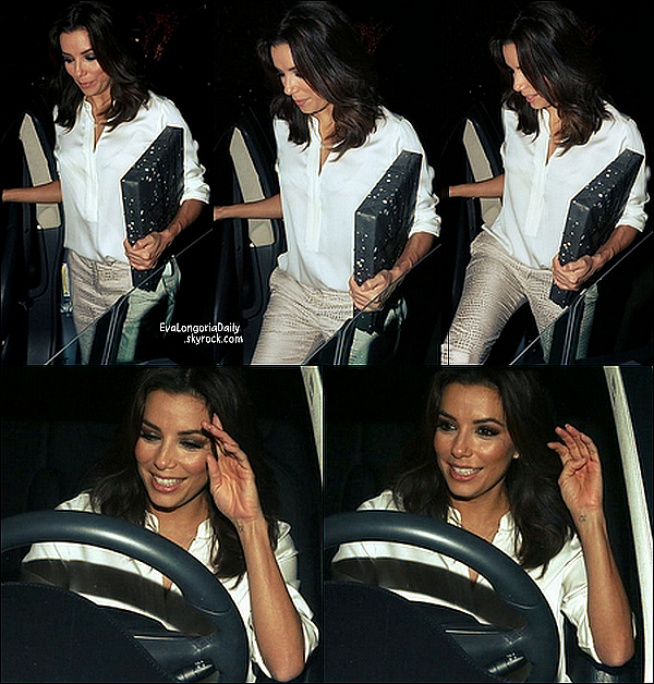 🍴 Pour finir, Eva est allée dîner au Ago Restaurant avec un directeur de la chaîne NBC.   19 Novembre 2014. West Hollywood, Etats-Unis. Tenue: Eva porte des Escarpins Jimmy Choo à 540¤.