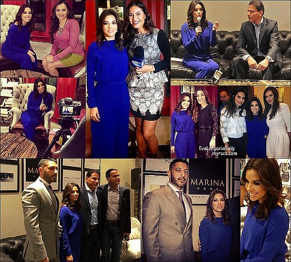 • 15 Décembre 2o14 •  - Dubaï, Emirats Arabes Unis. ⭐ Puis, Eva a donnée une Conférence lors du « Dubai International Film Festival » qui avait lieu au « Madinat Jumeriah Complex ».  Tenue: Robe Fatema Fardan & Escarpins Brian Atwood.