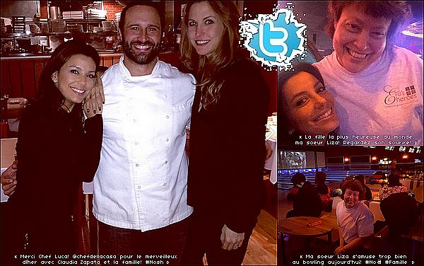 • 19 Décembre 2o14 •  - San Antonio, Etats-Unis. 🍴 Eva est allée dîner au « Nosh Restaurant » avec sa famille & son amie Claudia Zapata puis « Jouer au Bowling » avec sa s½ur Liza.