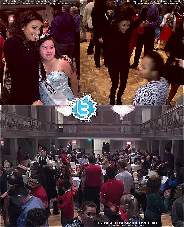 ✴ Eva est allée à Eva's Heroes Christmas Dance au Saint Anthony Hôtel, puis elle a passé la soirée chez son amie Claudia Zapata avec d'autres amis.  21 Décembre 2014. San Antonio, Etats-Unis. Tenue: Eva porte des Lunettes Ray-Ban à 150¤ & une Pochette Chanel à 1690¤.