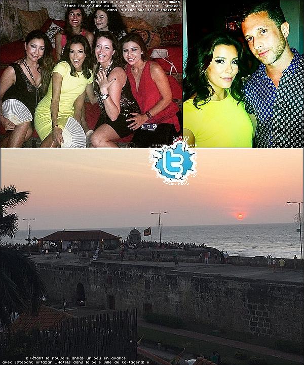 • 31 Décembre 2o14 •  - Cartagena, Colombie. 🎉 Eva a posté des « Photos du Réveillon du Nouvel-An » avec Pepe & ses amis.