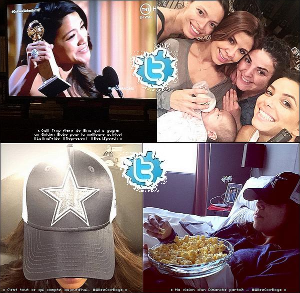 • 11 Janvier 2o15 •  - Dallas - Los Angeles, Etats-Unis. 📺 Eva a posté des Photos d'Elle en train de« Regarder un Match de Football Américain » puis les « Golden Globes Awards ».