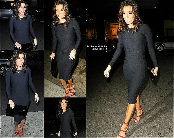 🍴 Le soir, Eva est allée dîner à Mr Chow Restaurant. 29 Janvier 2015. Beverly Hills, Etats-Unis. Tenue: Eva porte une Robe The Row à 580¤ & des Escarpins Prada à 845¤.