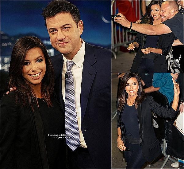 📺 Eva est allée sur le plateau de l'émission Jimmy Kimmel Live présenté par Jimmy Kimmel. Eva était accompagnée de sa cousine Lucky et de Nicolas Escanez Galera (le boyfriend de Maria Bravo). o2 Février 2015. Hollywood, Etats-Unis. Tenue: Eva porte des Escarpins Gianvito Rossi  à 770¤.