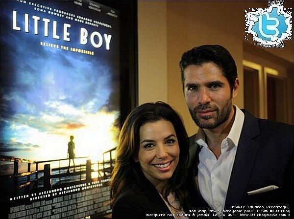🎥 Eva a présenté une projection privée du film Little Boy pour  Eduardo Verastegui. 26 Février 2015. Miami, États-Unis.