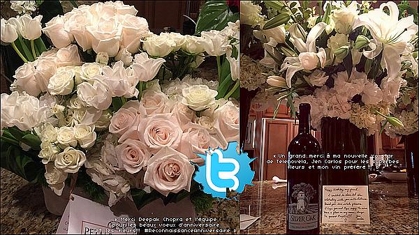 • 16 Mars 2o15 •  - Los Angeles, Etats-Unis. 📷 Eva a posté des « Photos des Fleurs » qu'elle a reçues pour son Anniversaire.