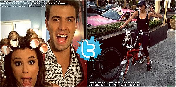 🚲 Eva a posté une photo d'elle sur le Tournage de Hot and Bothered & une photo en train de faire du vélo.  22 Avril 2015. Mexico, Mexique. Tenue: Eva porte des Lunettes Victoria Beckham à 490¤ & des Baskets Adidas à 145¤.