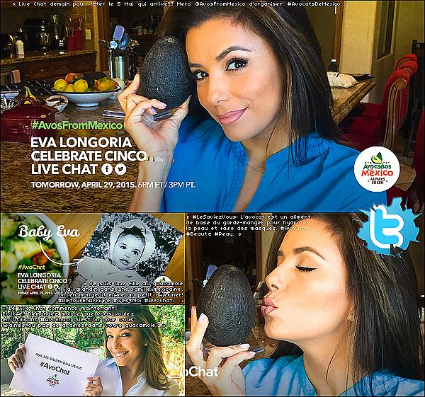 🎤 Eva a organisé un Live Chat sur Twitter.  29 Avril 2015. Los Angeles, États-Unis.