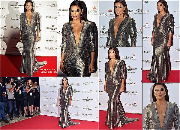 • 14 Mai 2o15 •  - Cannes, France. ⭐ Le soir, Eva est allée au « Global Gift Gala 2015 » qui avait lieu au « Mouton Cadet Wine Bar ». Tenue: Robe Georges Hobeika & Pochette Oroton à 17o¤.