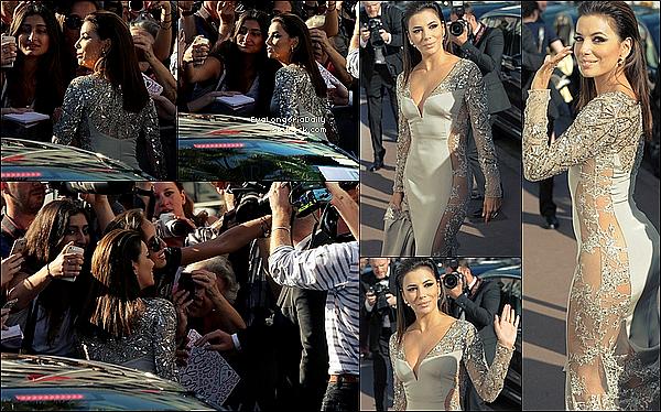 • 18 Mai 2o15 •  - Cannes, France. 🎉 Pour finir, Eva est allée à une « Fête ». Tenue: Robe Versace, Pochette Oroton & Spartiates Oscar Tiye.