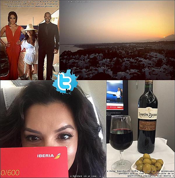 • o2 Juillet 2o15 •  - Marbella, Espagne. ✈️ Eva a « Pris l'avion » pour se rendre en Espagne. Tenue: Lunettes Victoria Beckham à 855¤ & Maillot de Bain Miko.