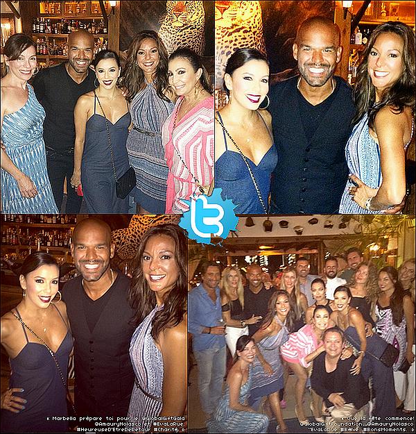 🎈 Le soir, Eva & ses amis ont passé la soirée au Trocadero Arena Restaurant.  o3 Juillet 2015. Marbella, Espagne. Tenue: Eva porte un Sac Chanel à 1690¤.