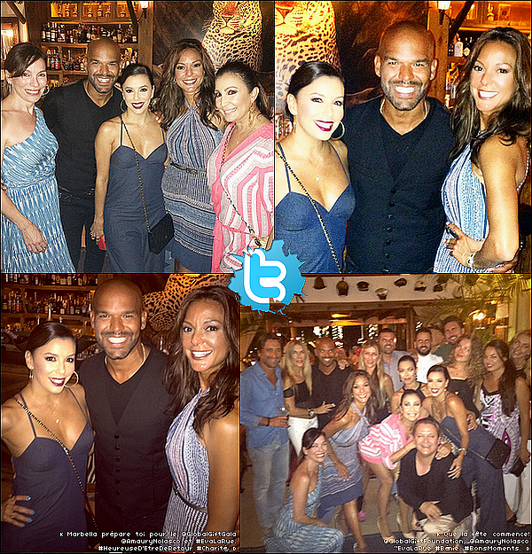 • o3 Juillet 2o15 •  - Marbella, Espagne. 🍴 Le soir, Eva est allée dîner au « Trocadero Arena Restaurant » avec des amis. Tenue: Sac Chanel à 169o¤.