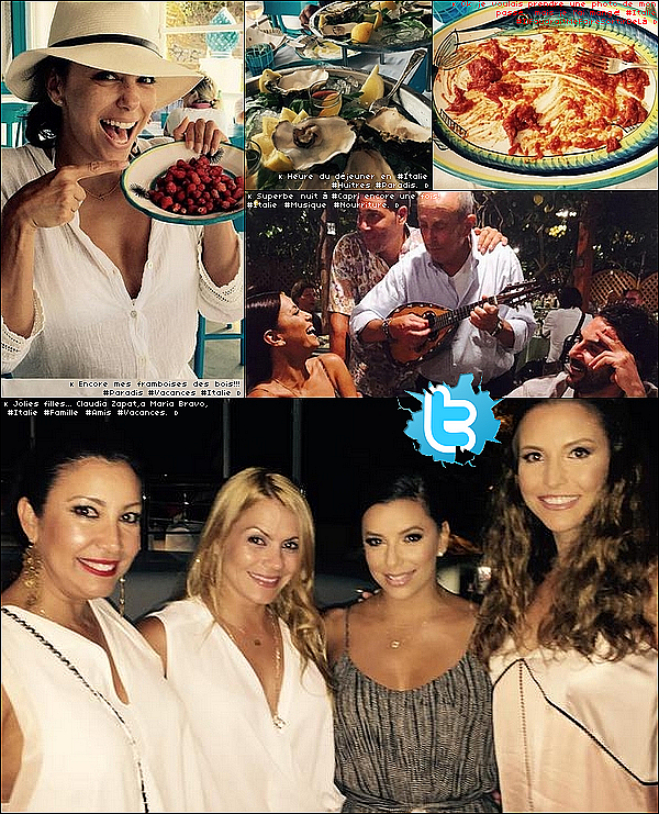 • 12 Juillet 2o15 •  - Capri, Italie. 🍴 Eva & ses amis sont allés « Visiter la ville de Capri » puis sont allés dîner au « Ristorante Da Paolino ».