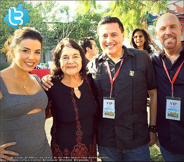 • 15 Août 2o15 •  - Los Angeles, Etats-Unis. 🎂 Eva est allée à « l'Anniversaire de Dolores Huerta » qui avait lieu à la « La Plaza De Culturas Y Artes ».