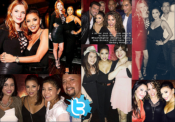 • o8 Octobre 2o15 •  - Hollywood, Etats-Unis. 🎂 Le soir, Eva est allée à « l'Anniversaire de Bella Thorne » au « Beso Restaurant ». Tenue: Combinaison Theory à 475¤ & Sac Chanel à 169o¤.