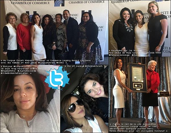 • o9 Décembre 2o15 •  - Corpus Christi, Etats-Unis. ⭐ Eva est allée à la « Hispanic Chamber of Commerce Legacy Award Luncheon ».