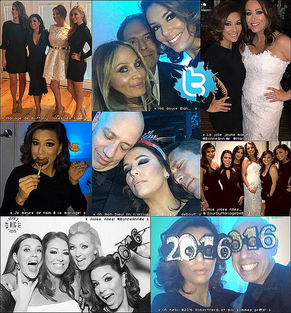 • 31 Décembre 2o15 •  - Los Angeles, Etats-Unis. 💍 Ensuite, Eva est allée au « Mariage de son amie Brittany VanMatre ».