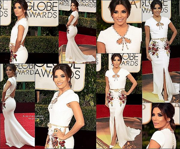 • 1o Janvier 2o16 •  - Beverly Hills, Etats-Unis. ⭐ Eva est allée aux « Golden Globes Awards » qui avaient lieu au « Beverly Hilton Hotel ». Tenue: Robe Georges Hobeika & Escarpins Chrisitan Louboutin à 625¤.