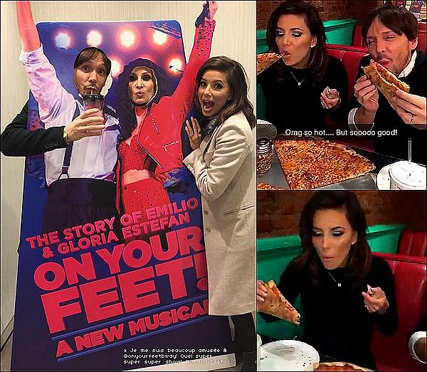 • 17 Février 2o16 •  - New-York. 🎭 Eva, accompagnée de Mélanie Griffith s'est rendue à « The Marquis Theatre » pour voir le spectacle musical « On Your Feet! ».