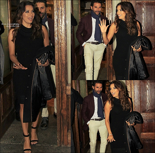 🍴 Eva & Pepe sont allés dîner à Casa Lucio Restaurant avec des amis.  o1 Avril 2o16. Madrid - Espagne. Tenue: Eva porte un Manteau Fay, un Sac Chanel à 1690¤ & des Escarpins Gianvito Rossi à 760¤.
