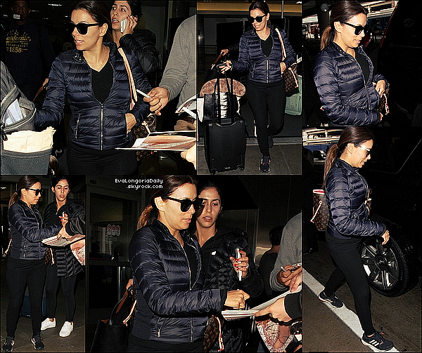 ✈️ Eva a été vue à LAX Airport.  o7 Avril 2o16. Los Angeles - Etats-Unis. Tenue: Eva porte des Lunettes Victoria Beckham à 345¤, un Manteau Woolrich à 360¤ & des Baskets Adidas à 95¤.