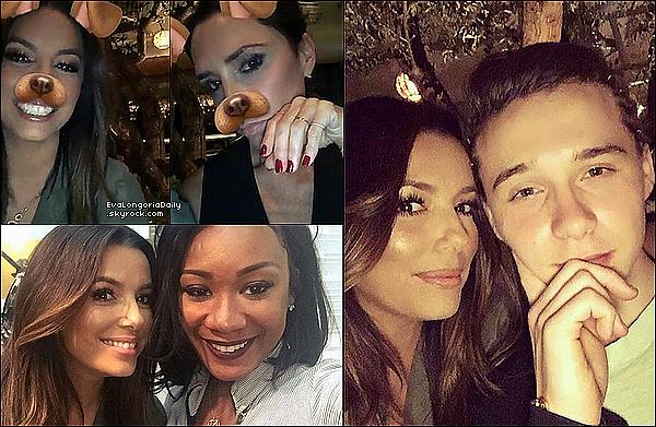 • 14 Avril 2o16 •  - Los Angeles, Etats-Unis. 🍴 Eva est allée « Dîner au Restaurant » avec Victoria & Brooklyn Beckham.