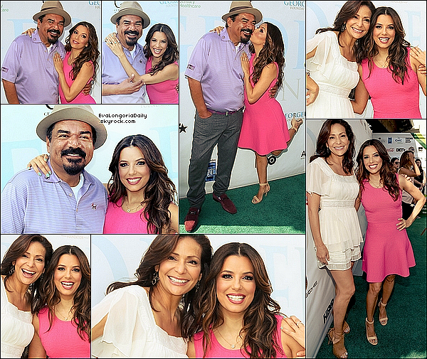 • o2 Mai 2o16 •  - Burbank, Etats-Unis. ⛳ Eva est allée au « Lakeside Golf Club » pour le « George Lopez Celebrity Golf Classic ». Tenue: Robe Eva Longoria Collection à 9o¤ & Escarpins Gianvito Rossi à 69o¤.